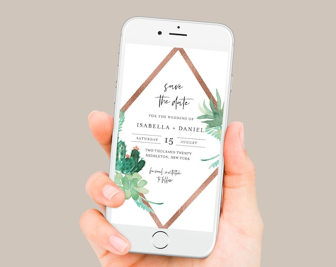 Cactus Save the Date, Succulent Electronic Invitation, Evite, Digital, Text Invite, Editable Text, Templett, Instant Download #086-103SDD