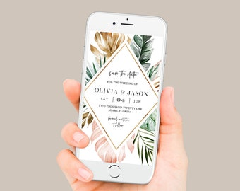 Tropical Save the Date, Beach Wedding Electronic Invitation, Evite, Digital, Text Invite, Editable, Templett, Instant Download #087-106SDD