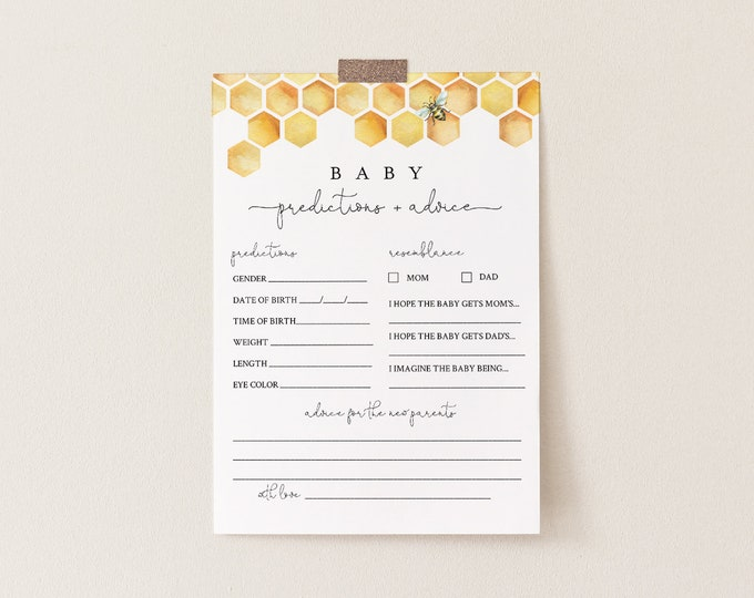 Baby Predictions and Advice Card, Printable Honey Bee Baby Shower, Editable Text, DIY Baby Advice, INSTANT DOWNLOAD, Templett #097-163BASG