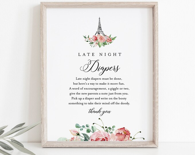 Paris Late Night Diapers Sign, Printable Eiffel Baby Shower Game, Diaper Notes, Editable Template, INSTANT DOWNLOAD, Templett #001-243BASG