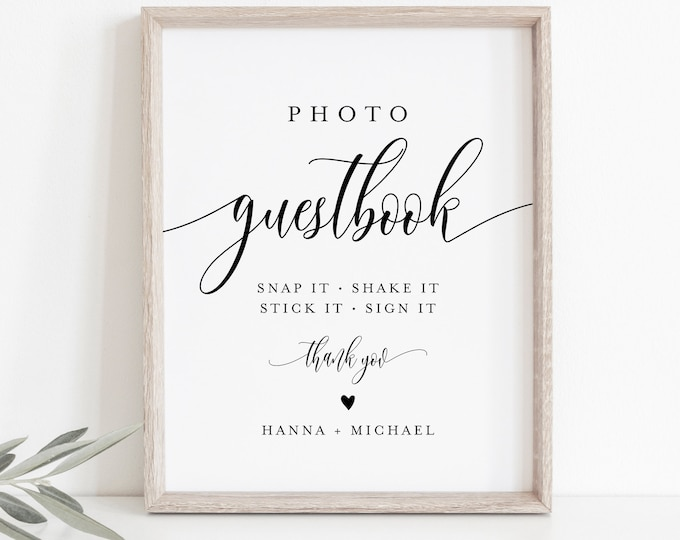 Photo Guestbook Sign, Personalized Wedding Guest Book, Editable Template, Minimalist Sign, Instant Download, Templett, 8x10 #008-11S