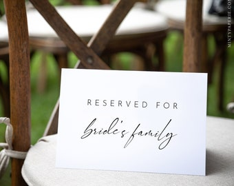 Minimalist Reserved Seat Card, Modern Wedding Reserved Seating Tent Card, Editable Template, INSTANT DOWNLOAD, Templett, 5.5x8.5 #0023-106RS