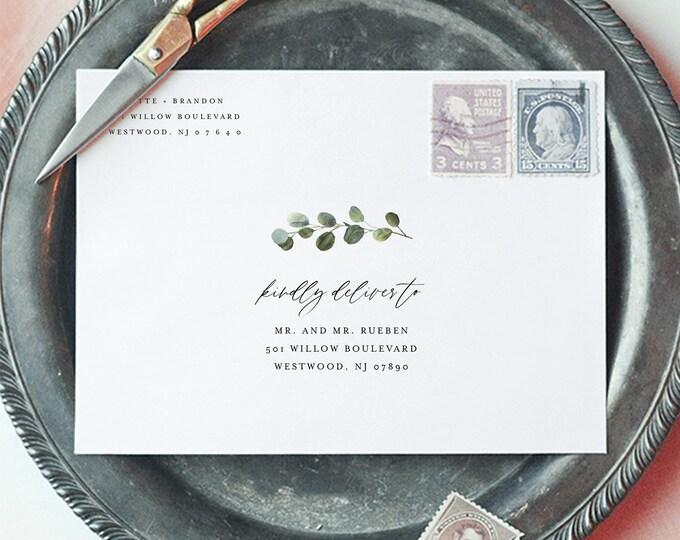 Greenery Address Template, Minimalist Wedding Envelope Printable, Instant Download, Editable Template, Digital, Templett A7 & A1 #082-141EN