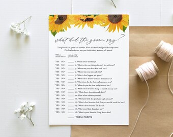 Sunflower What Did the Groom Say, Bridal Shower Game, Printable Bridal Game, Editable Template, Instant Download, Templett 5x7 #0010-316BG