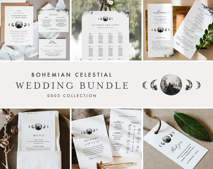 Celestial Wedding Bundle, Day Of Wedding Templates, Bohemian Full Moon Invitation Set, Editable, Instant Download, Templett  #0003-BUNDLE