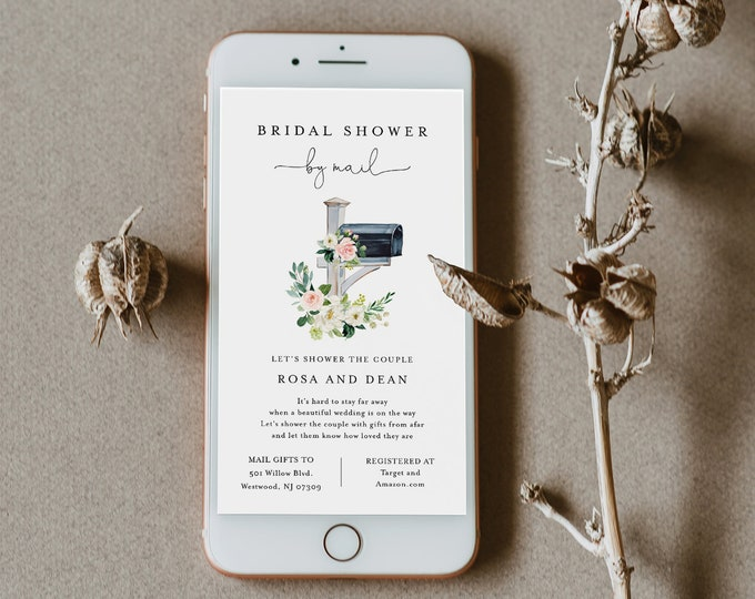 Social Distance Bridal Shower Invitation, Bridal Shower by Mail Invite, Mailbox, Editable Template, Instant Download, Templett #265BS