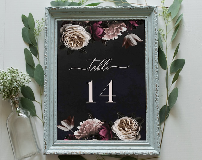 Wedding Table Number Template, Printable Moody Cream & Burgundy Floral Table Card, INSTANT DOWNLOAD, Editable Text, Templett, DIY #009-139TC