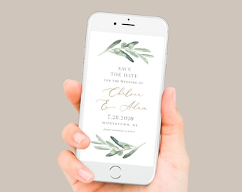 Olive Greenery Save the Date, Electronic Invitation, Evite, Digital, Text Invite, INSTANT DOWNLOAD, 100% Editable Text, Templett #081-102SDD