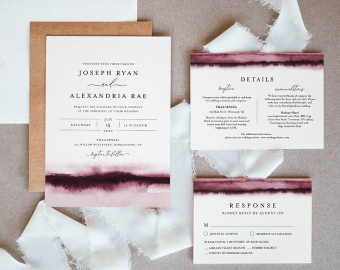 Burgundy Watercolor Wedding Invitation Set, Wine, Vineyard Theme, Modern, Minimalist, Editable Template, Instant Download, Templett #093B