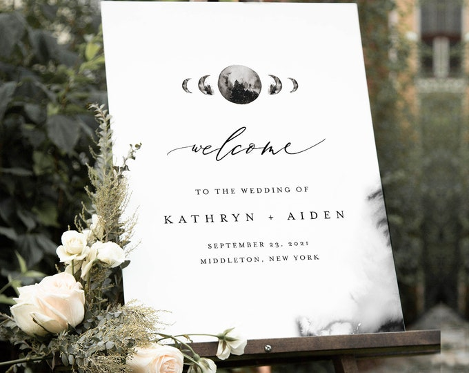 Celestial Moon Wedding Welcome Sign, Printable Minimalist Wedding or Bridal Shower Sign Template, Instant Download, Templett #0003-220LS