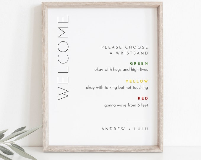 Color Coded Wristband Sign, Social Distance Welcome Sign, Covid Wedding, Editable Template, Instant Download, Templett, 8x10 #094-25S