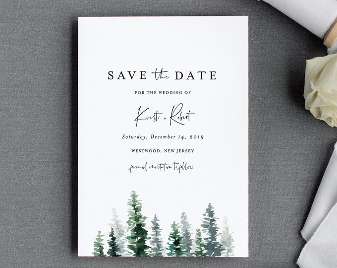 Pine Save the Date Template, Rustic Winter Evergreen Wedding Date Printable, Editable Text, Instant Download, Templett, 4x6, 5x7 #073-141SD