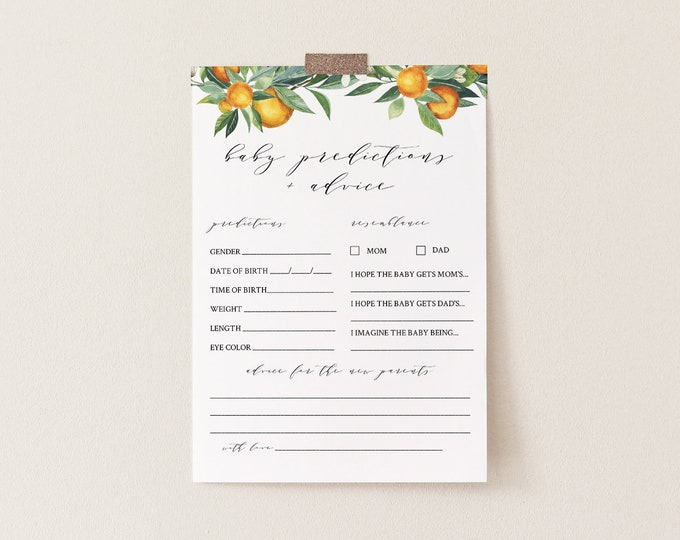 Baby Predictions and Advice Card, Printable Summer Citrus Orange Game, 100% Editable Text, DIY Baby Advice, INSTANT DOWNLOAD #084-142BASG