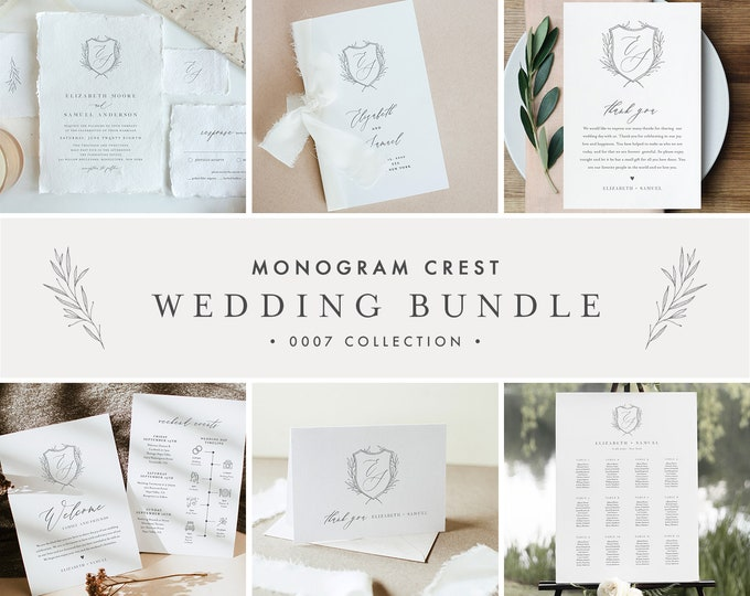 Monogram Crest Wedding Bundle, Complete Essentials Template, Simple Invitation Suite, 100% Editable, Instant Download, Templett #0007-BUNDLE