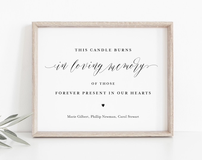 In Loving Memory Sign, Minimalist Wedding, This Candle Burns Sign, 100% Editable Template, Printable, Instant Download, Templett #038-03S