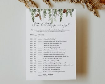 Pine What Did the Groom Say, Bridal Shower Game, Printable Winter Bridal Game, Editable Template, Instant Download, Templett 5x7 #0017-340BG