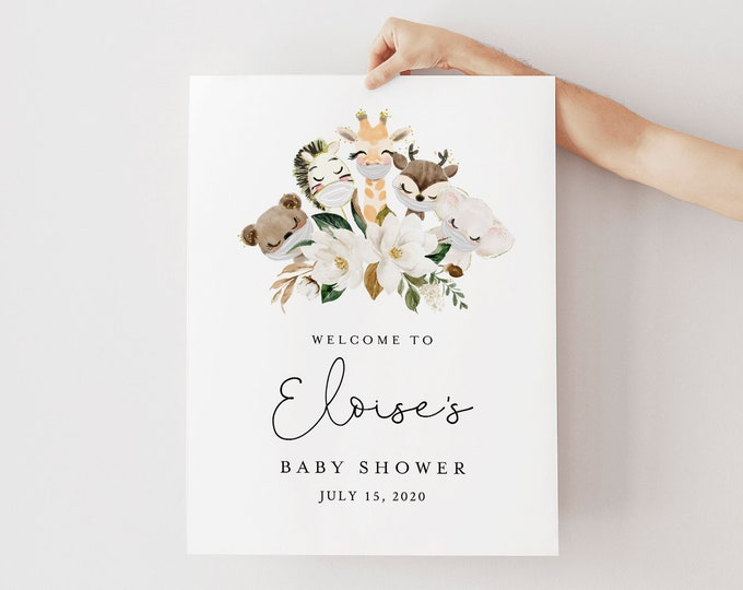 Baby Shower Welcome Sign Template, Printable Mask Animal Baby Shower Poster, Instant Download, 100% Editable Text, Templett #0008A-207LS