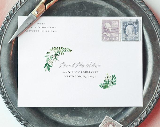 Wedding Envelope Template, Greenery Address Printable, DIY Envelope, Instant Download, 100% Editable Template, A7 & A1 #080A-146EN