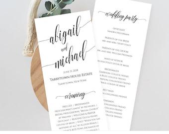 Wedding Program Template, Printable Order of Service, Ceremony Program, Instant Download, Editable Template, Digital, Templett #020-209WP