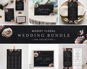 Moody Floral Wedding Bundle, Invitation Suite, Editable Templates, Blush & Purple Vintage Floral, Instant Download, Templett #009-BUNDLE