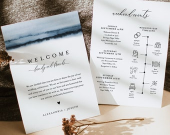 Welcome Bag Letter & Timeline Template, Printable Wedding Order of Events, Editable Itinerary, INSTANT DOWNLOAD, Templett #093A-138WB