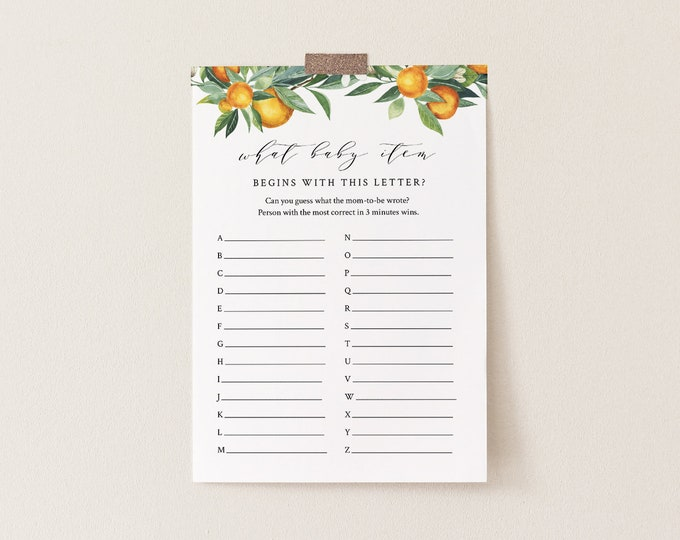A to Z Baby Shower Game, What Baby Item Game, Citrus Summer Orange Baby Shower, Editable Template, Instant Download, Templett #084-139BASG