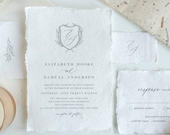 Wedding Crest Invitation Suite, Minimalist Wedding Invite, RSV, Details, Monogram, 100% Editable Template, Instant Download, Templett  0007A