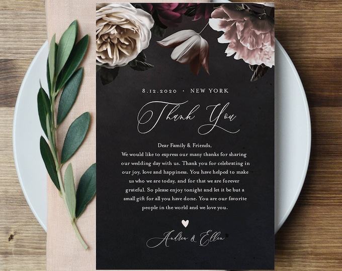 Thank You Letter, Wedding Napkin Note, In Lieu of Favor Card Template, Wedding Reception Card, Moody Florals, INSTANT DOWNLOAD #009-127TYN