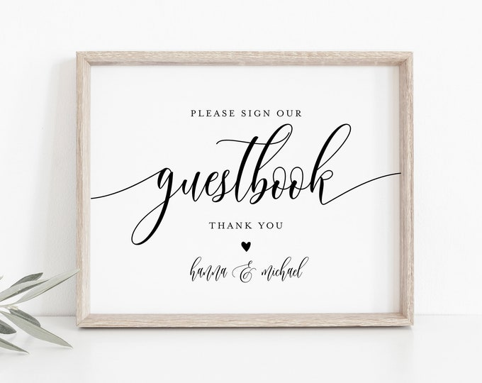 Wedding Guestbook Sign, Editable Template, Printable Guest Book, Modern Calligraphy, Tabletop Sign, Instant Download, Templett 8x10 #008-12S