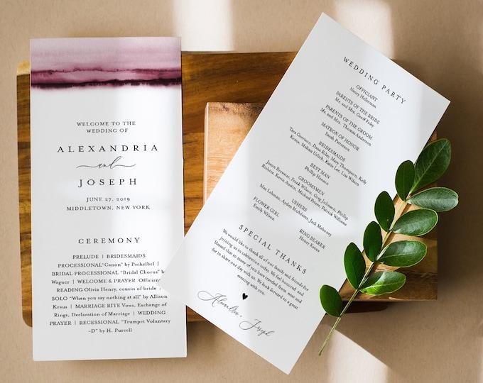 Watercolor Wedding Program Template, Burgundy Printable Order of Service, Modern, Instant Download, Editable Text, DIY, Templett #093B-237WP