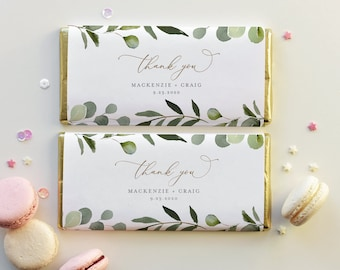 Greenery Chocolate Bar Wrapper Template, Printable Wedding / Bridal Shower Candy Bar Wrapper, Instant Download, Templett #056-105CW