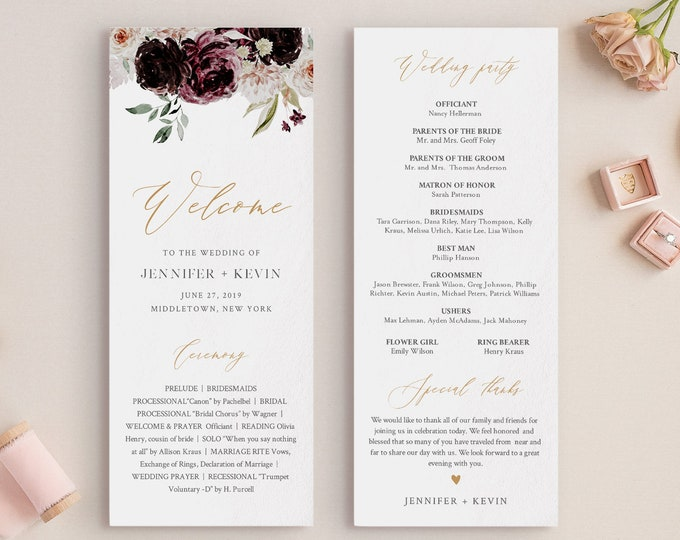 Wedding Program Template, Printable Order of Service, Moody Vintage Floral, Instant Download, 100% Editable Text, DIY, Templett #074-228WP