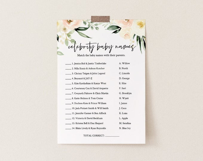 Celebrity Baby Name Game, Printable Baby Shower Game, Baby Name Game, Boho Floral Greenery, Editable Template, INSTANT DOWNLOAD #076-154BG