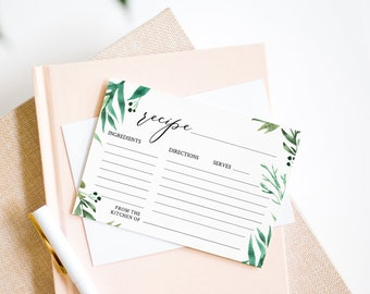 """Printable Recipe Card Template, Greenery Bridal Shower Recipe Insert, Instant Download, Editable Template, Templett, 5""""x3.5"""" #080-108RC"""