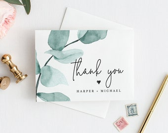 eucalyptus thank you card template instant download 100 editable text printable greenery wedding thank you folded card diy 049 108tyc