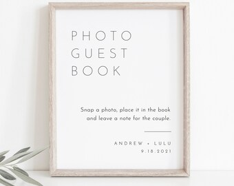 Photo Guestbook Sign, Modern Wedding Guest Book, 100% Editable Template, Minimalist Sign, Instant Download, Templett, DIY 8x10 #094-15S