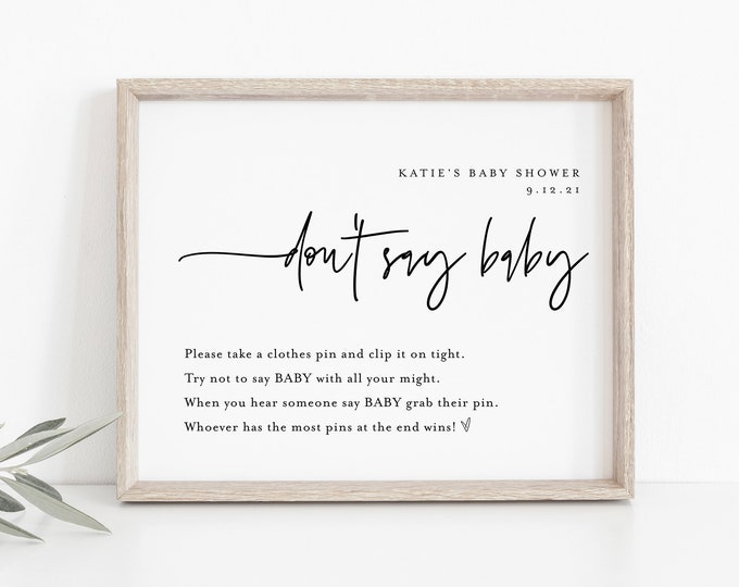Don't Say Baby Clothespin Game, Minimalist Baby Shower Sign, 100% Editable Template, Printable, Instant Download, Templett  #0009-201BASG