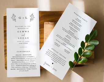 Simple Wedding Program Template, Modern Minimalist Order of Service, Editable, Printable Program, Instant Download, Templett #095B-236WP