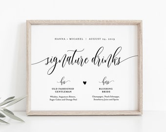 Wedding Signature Drinks Sign, Editable Template, Printable Signature Cocktails, Alcohol, Drink, Bar Menu, INSTANT DOWNLOAD, 8x10 #008-02S