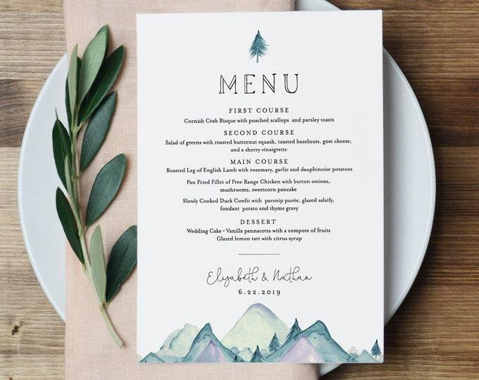 Wedding Menu Template, Rustic Mountain Evergreen Wedding Menu Card, Printable Pine Tree Menu, INSTANT DOWNLOAD, Editable Text #063-141WM