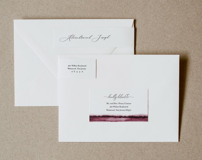 Address Label, Burgundy Watercolor Wedding Envelope Sticker, Return Address Template, INSTANT DOWNLOAD, Editable, Templett #093B-105ENL