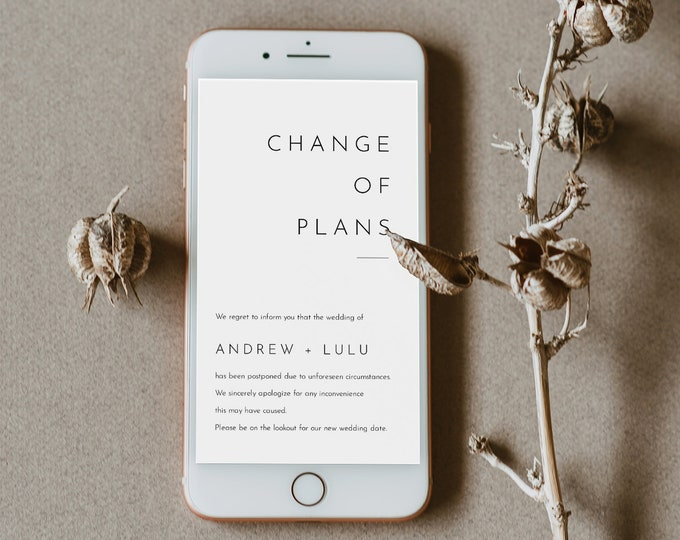 Change of Plans / Date, Postponed Wedding Date Announcement, Cancelled, Evite, Text Message, 100% Editable, INSTANT DOWNLOAD #094-101PA