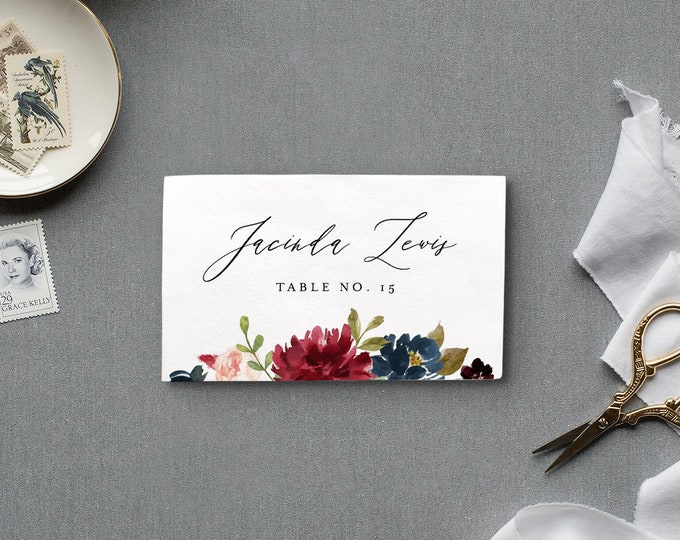 Wedding Place Card Template, Printable Escort / Seating Card, Name Card, Boho Merlot Floral, INSTANT DOWNLOAD, 100% Editable Text #062-122PC