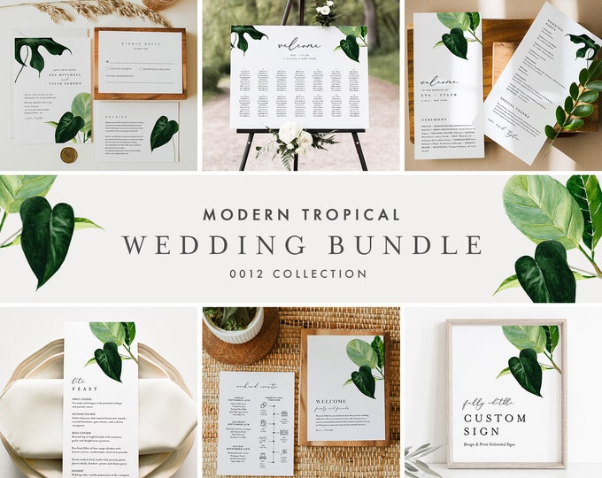 Modern Tropical Wedding Bundle, Beach Wedding Invitation Suite + Day Of Templates, Editable Text, Instant Download, Templett #0012-BUNDLE
