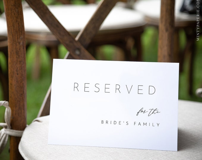 Minimalist Reserved Seat Card, Modern Wedding Reserved Seating Tent Card, Editable Template, INSTANT DOWNLOAD, Templett, 5.5x8.5 #094-101RS
