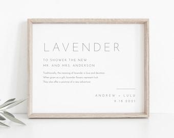 Minimalist Lavender Toss Sign, Editable Template, Printable Modern Wedding Lavender Confetti Send Off, Ceremony Exit, Templett 8x10 #094-05S