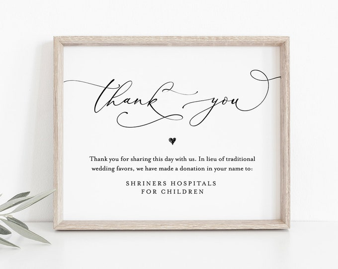 In Lieu of Favors Template, INSTANT DOWNLOAD, 100% Editable, Printable Wedding Donation Sign, Thank You, Charity Card, 5x7 & 8x10 #CHM-06