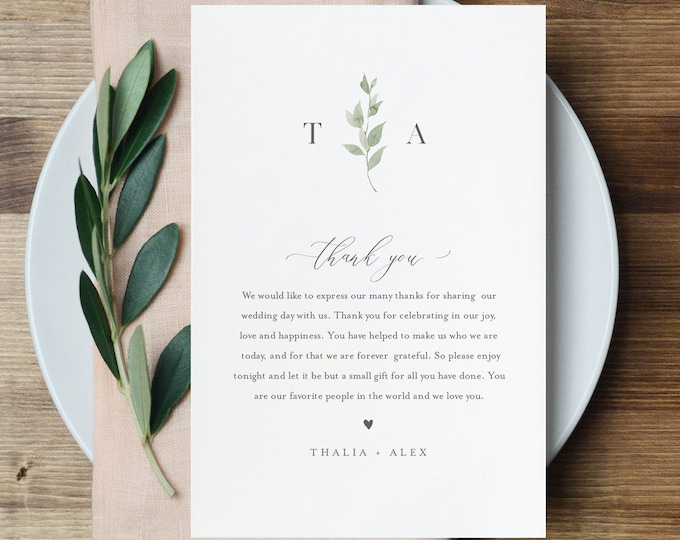 Thank You Letter Template, Wedding Reception Thank You Note, Instant Download, Printable In Lieu of Favor Card, Fully Editable #0004B-147TYN