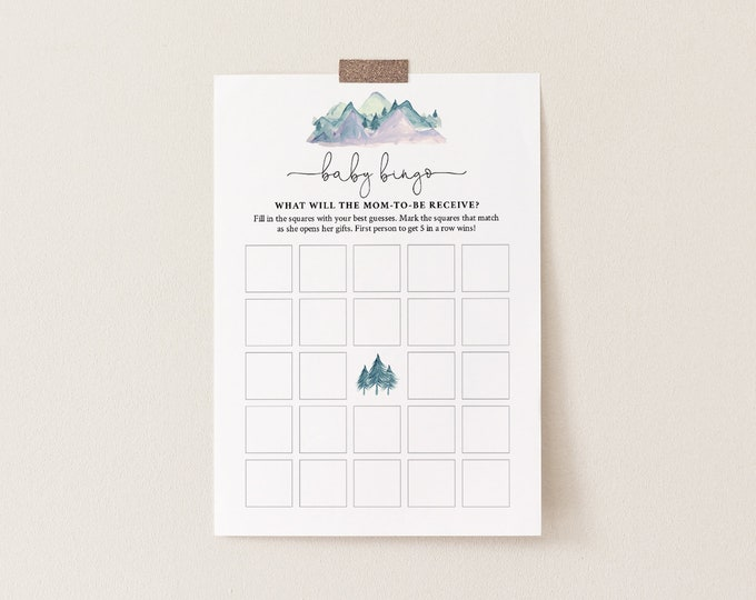 Baby Bingo Game, Instant Download, Rustic Pine Mountain Baby Shower Game, Editable Template, Instant Download, Templett, DIY  #063-126BASG