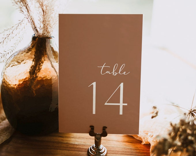 Terracotta Table Number Card Template, Minimalist Wedding Table Number, Editable, INSTANT DOWNLOAD, Templett, DIY 4x6 #0020-193TC